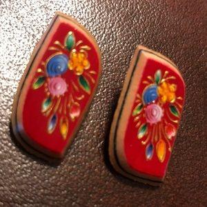 Wooden Painted Floral Earrings